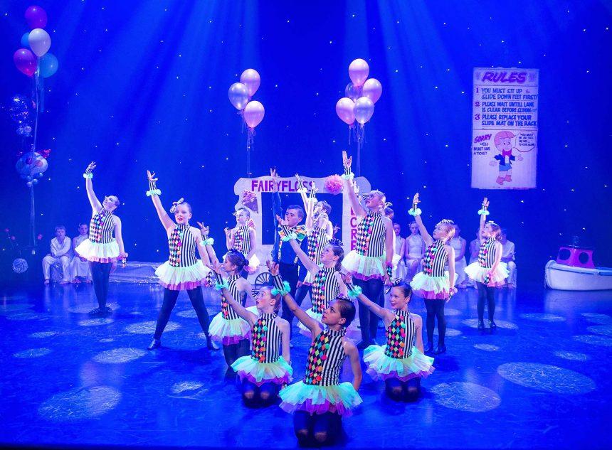 Irish dancers in clown costumes