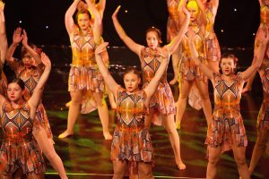 Young girls performing contemporary dance